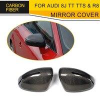 Замена углеродного волокна авто Сторона Гонки Зеркало Обложка для Audi 8J TT TTS 2006 2014 и R8 2007 2011 Chrome ABS не R8 GT