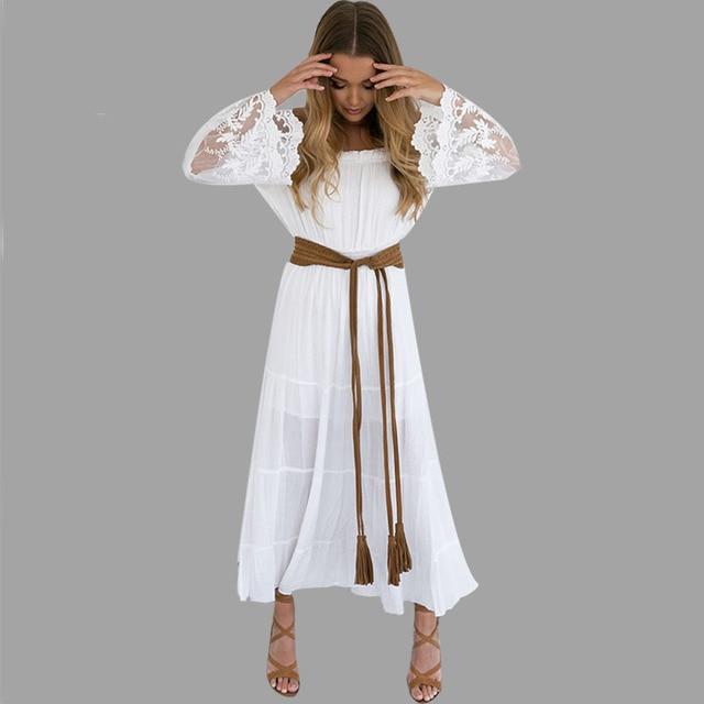 2018 Summer Sundress Long Women White Beach Dress Strapless Long Sleeve  Loose Sexy Off Shoulder Lace Boho Cotton Maxi Dress 10580b834