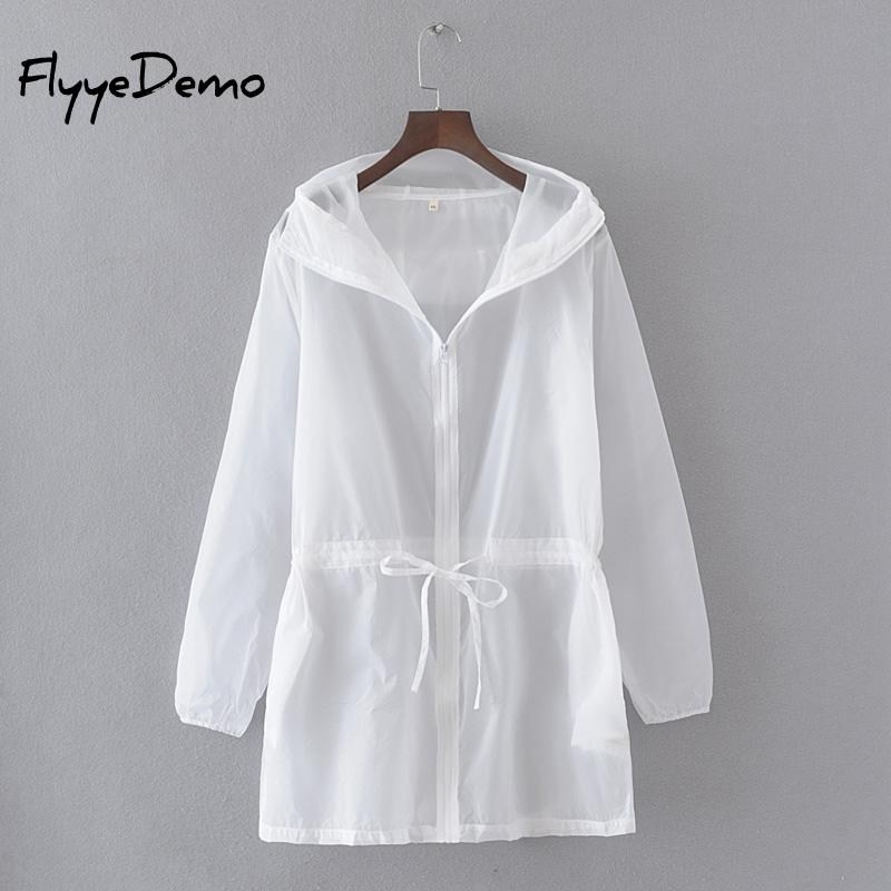 Summer Thin White Hooded Sunproof Cardigan Beach Blouse Sunscreen See Through   Basic     Jacket   Coat Women Girl Bigger Oversize
