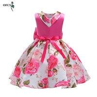 New Wholesale Retail Style Summer Baby Girl Print Flower Girl Dress For Wedding Girls Party Dress