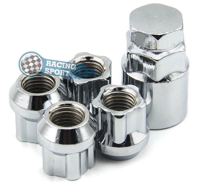 4PCS/Set Anti-theft Nuts M12*1.5 Wheel Lock Nuts Silver Alloy Nuts for Buick,Chevrolet,Honda,Hyundai,KIA,Mitsubishi,Toyota