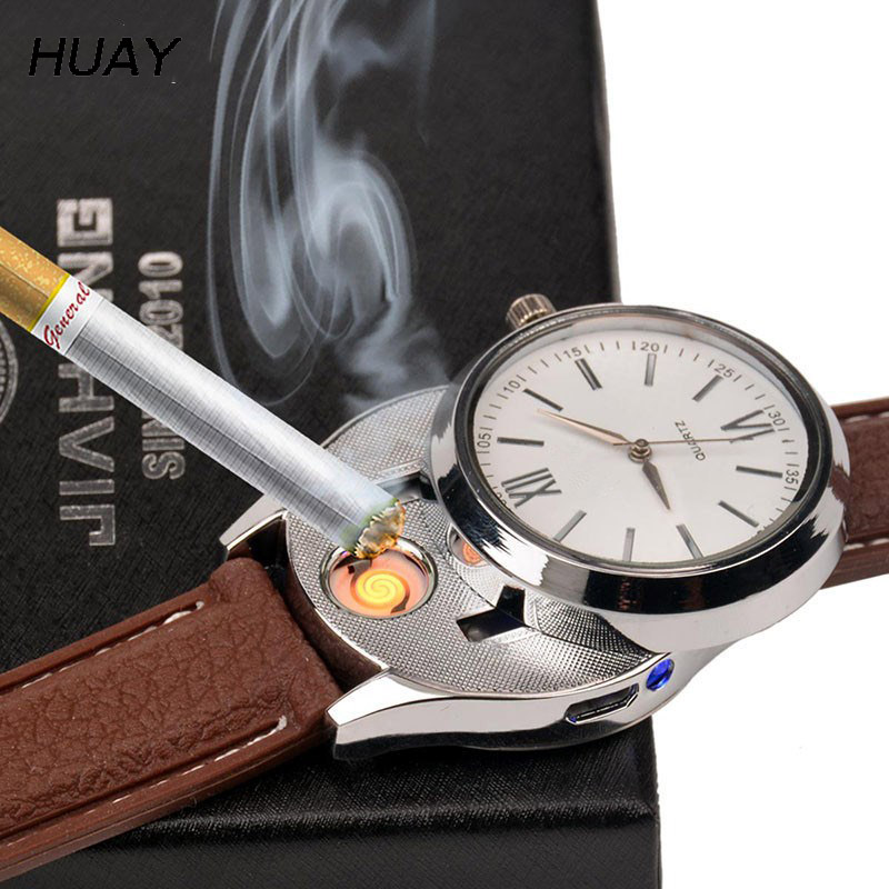 Cigarette Lighter Watches men USB Charging sports Casual Quartz watch fashion hot Flameless Lighter Clock male gift JH319-2 1pcs
