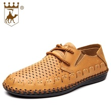 Genuine Leather Mens Casual Shoes Mans Breathable Lace UP Flats Shoes Mesh Soft Sole Sewing Footwear High Quality AA20544