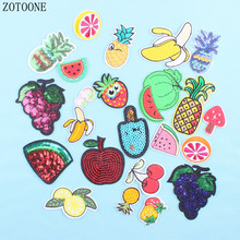 ZOTONE 23pcs Food Pineapple Patch Cartoon Fruit Clothes Stickers Iron On Cheap Embroidered Patches For Clothing Sequin Appliques