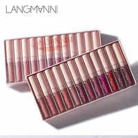 Langmanni matte batom conjunto impermeável de longa duração veludo batom conjunto vermelho matiz nude batom lábio gloss maquiagem conjunto maquiage