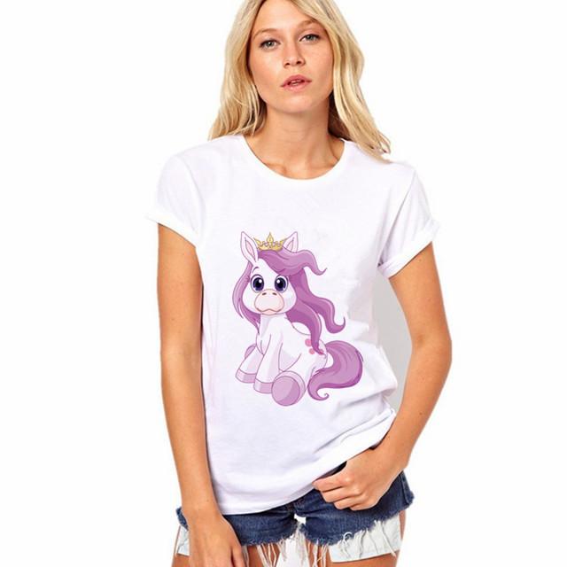 Women T shirt Unicorn Prints Round Neck Short Sleeve White Top