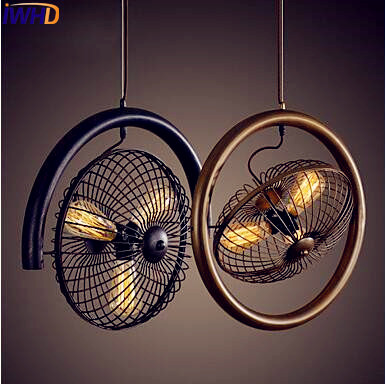 IWHD American Iron Wrount Vintage Lamp Home Lighting Fan Shade Style Loft Industrial Pendant Light Fixtures Hanglamp iwhd loft style creative retro wheels droplight edison industrial vintage pendant light fixtures iron led hanging lamp lighting