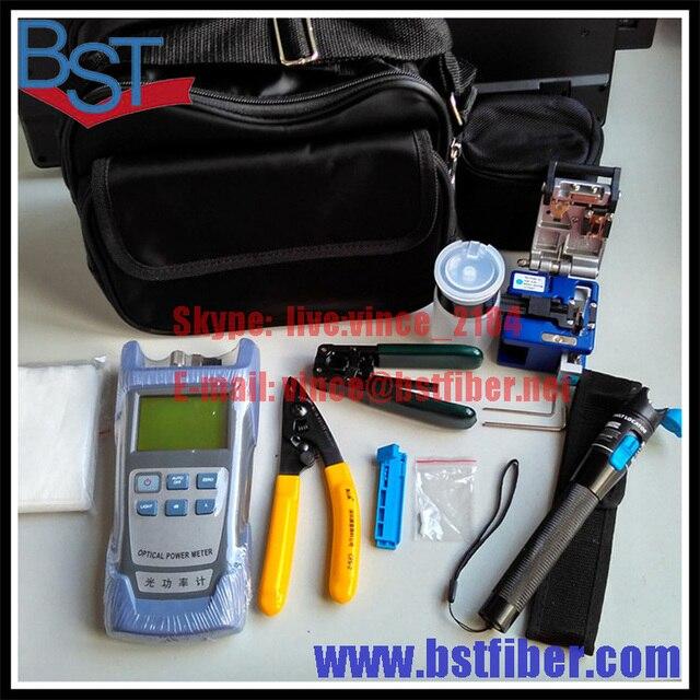 FTTH Terminal Cold Assemble Tool Kit -9pcs,FTTH Box,Kevlar Scissors,Fiber Stripper,Fiber Cleaver,Power meter