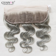 7A Silver Grey Lace Frontal Closure Body Wave 13 4 Peruvian virgin hair Grey Bleached Knot
