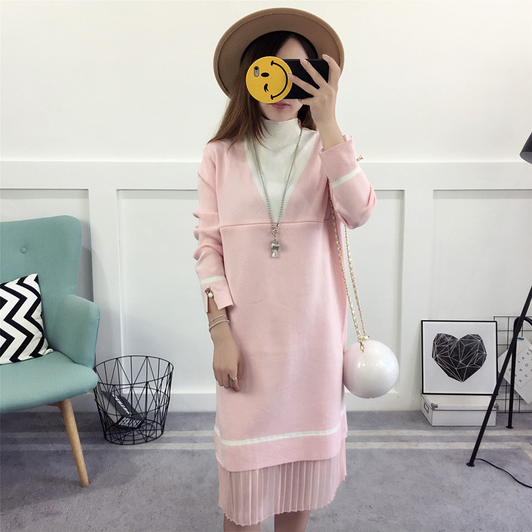 Pregnancy Dress Long Sleeved Autumn And Winter Feeding Lactation Clothes For Pregnant Women Maternity Nursing Sweater maternity dresses in autumn and winter long sleeve turtleneck clothes for pregnant women pregnancy clothing 2017 autumn q41