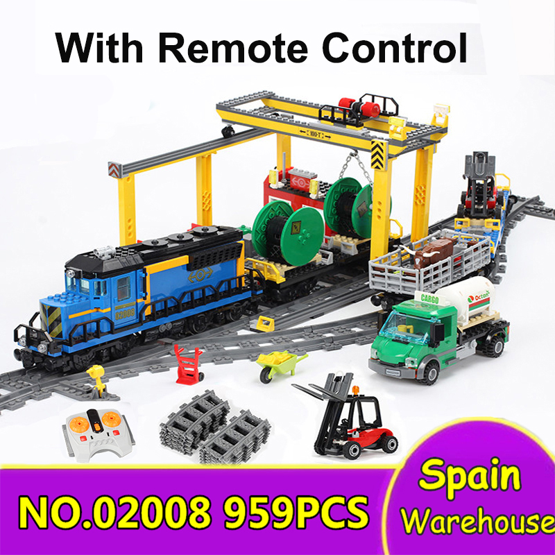 02008 02010 High Speed Train Cargo Building Blocks Technic City Train 60051 60098 Toys Children Christmas