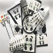 112 adet/grup karikatür Panda tema doğum günü partisi tek kullanımlık sofra seti tabaklar peçeteler parti malzemeleri süslemeleri