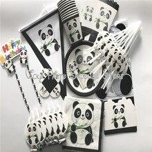 112 pcs/lot dessin animé Panda thème fête danniversaire jetable vaisselle ensemble assiettes serviettes fête fournisseurs décorations