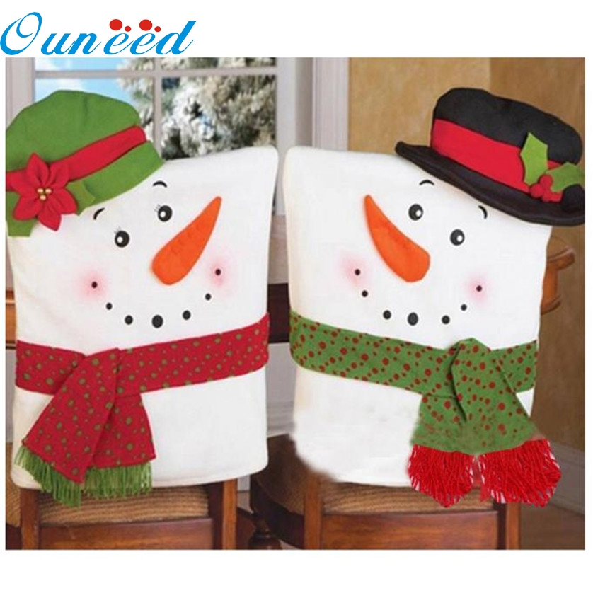 2 PCS Christmas Snowman Chair Covers Home Decoration Kitchen Dining Table Decor Party