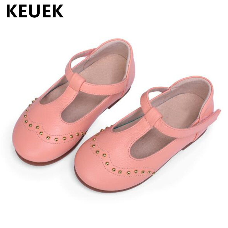 New Spring/Summer Dance Shoes Children Baby Toddler Fashion  Genuine Leather Flat with Children Kids Single Shoes Princess 04
