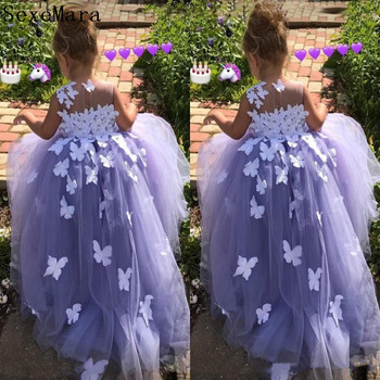 New Long Puffy Flower Girl Dress with Handmade Butterflies For Special Occasion O-Neck Sleeveless Sheer Neck Kids Pageant Gowns
