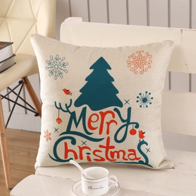 1Pcs 45x45cm Pillow Case Merry Christmas Decorations For Home 4