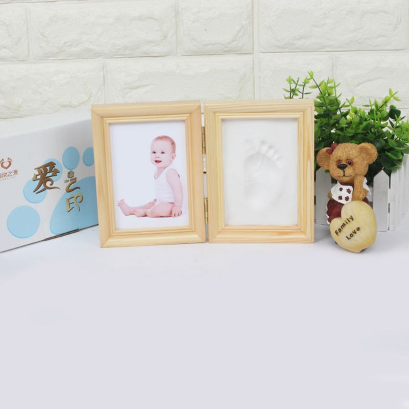 Купить с кэшбэком Folding DIY Hand Foot Print Pictures Display Souvenirs Commemorate Kids Growing Memory Baby Shower Gift Wood Photo Frame