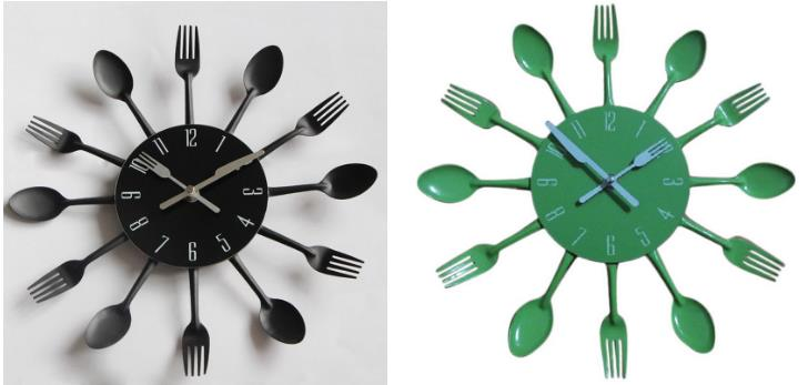Quirky Cutlery Design Novelty Wall Clock Stainless Steel Metal Knife Fork Spoon Shape Kitchen Clocks Creative Home Decor 4colors