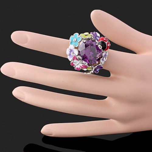 CHRAN Classic Silver Plated Enamel Flower Crystal Wedding Rings for Women Lovely Butterfly Cubic Zirconia Ladies Promised Ring