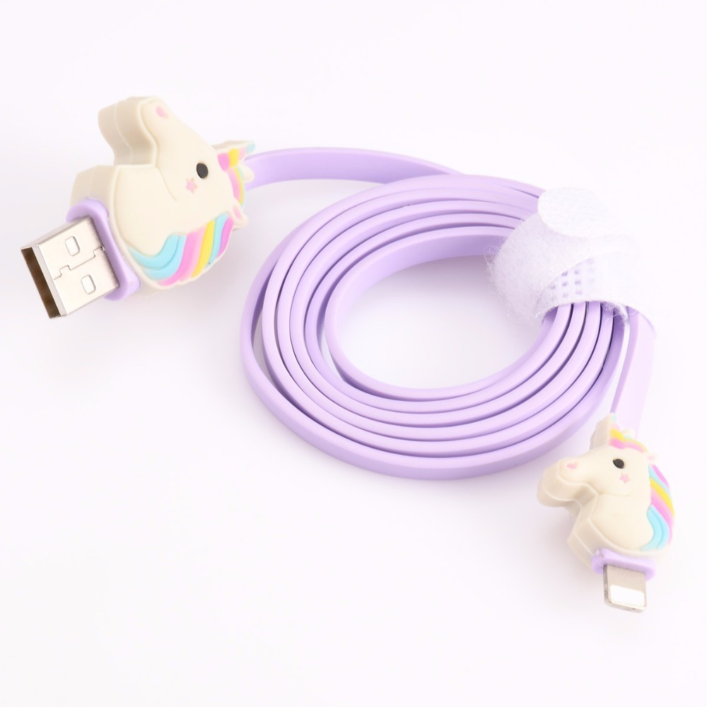 Cute Rainbow Unicorn Mini USB Cable 1 Meter Micro Usb Extension Cables Rubber Data Line Violet Color For Iphone Smart Phone
