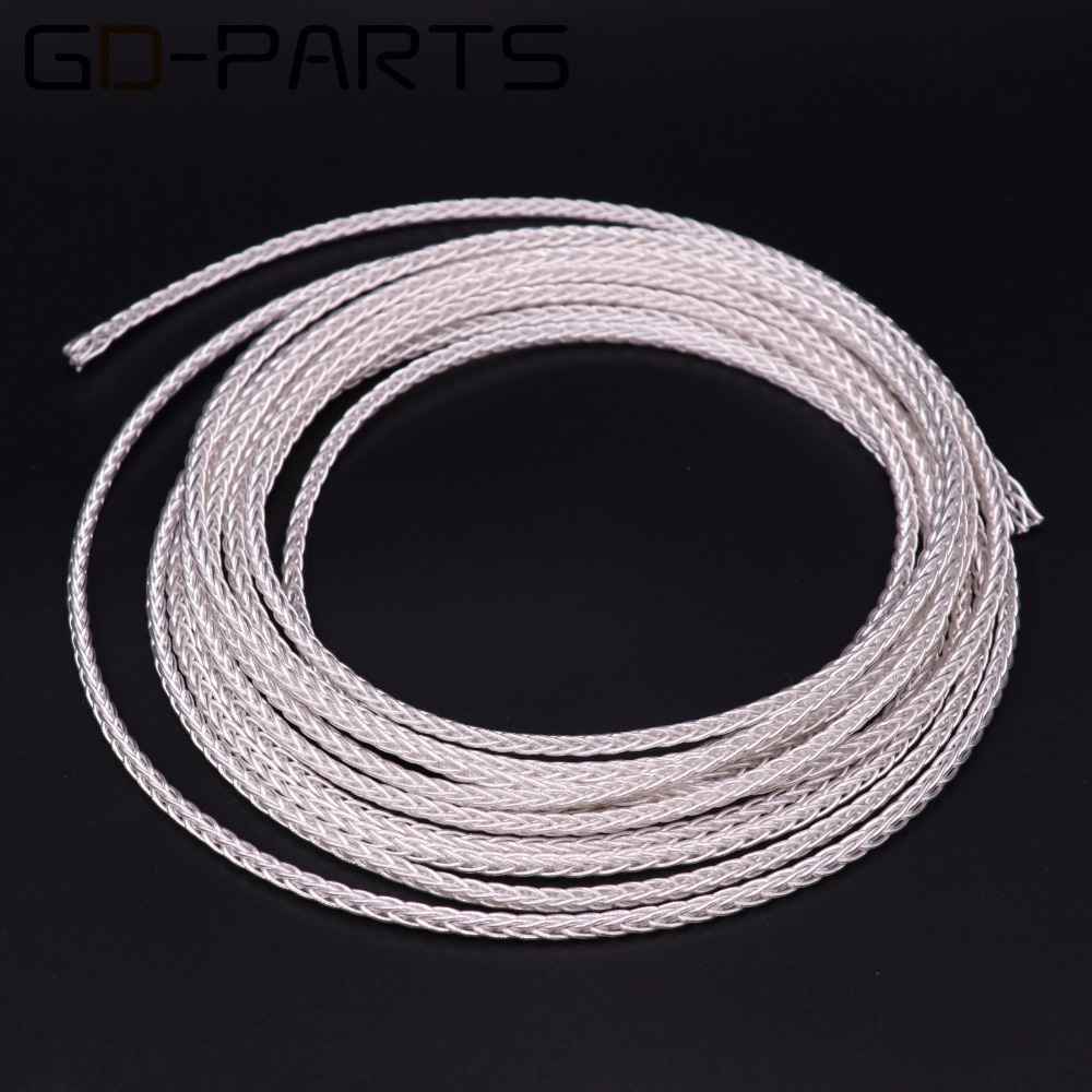 GD-PARTS High Purity Teflon Silver OCC Headphone Cable Hifi Audio Headset Earphone Upgrade Wire <font><b>8</b></font> Cores <font><b>19</b></font> Strandsx0.12 Flexible image