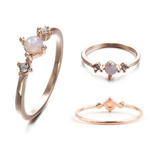 LNRRABC 2018 new 1pcs Rose gold Jewelry Wedding Sexy Sterling White Opal Chic Women Ring Chic Simple Alloy rings for women rings(China)