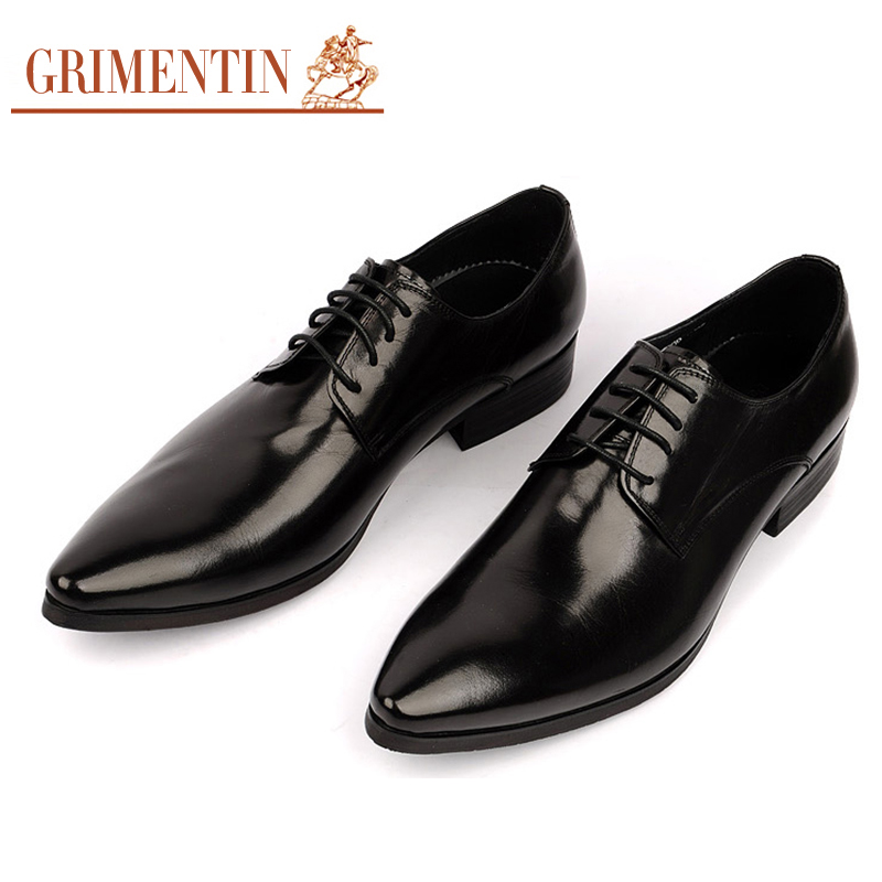 Designer Mens Pointed Toe Dress Shoes Genuine Leather Black Burgundy Brand Formal Oxford Shoes For Men Wedding Prom Flat Shoes