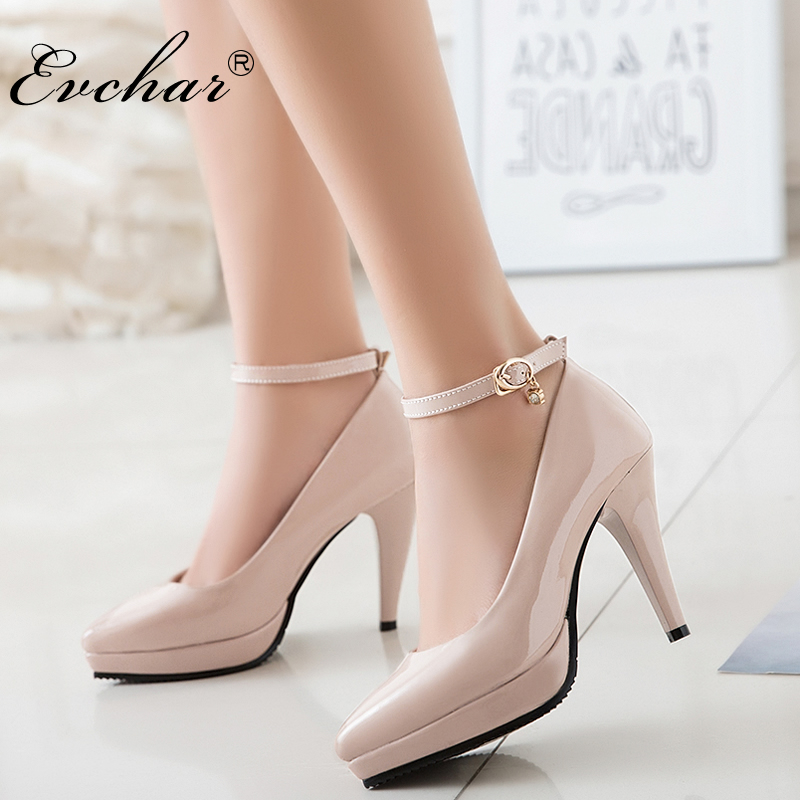 EVCHAR super High Heels Women Pumps Pointed toe pu Leather Buckle ankle Strap Sexy Lady Shoes Party Women Pumps 3 Colors 33-43 2018 women high heel party pumps wedding sexy shoes lady thin heels 9 cm ankle buckle strap pointed toe rivet nightclub fashion