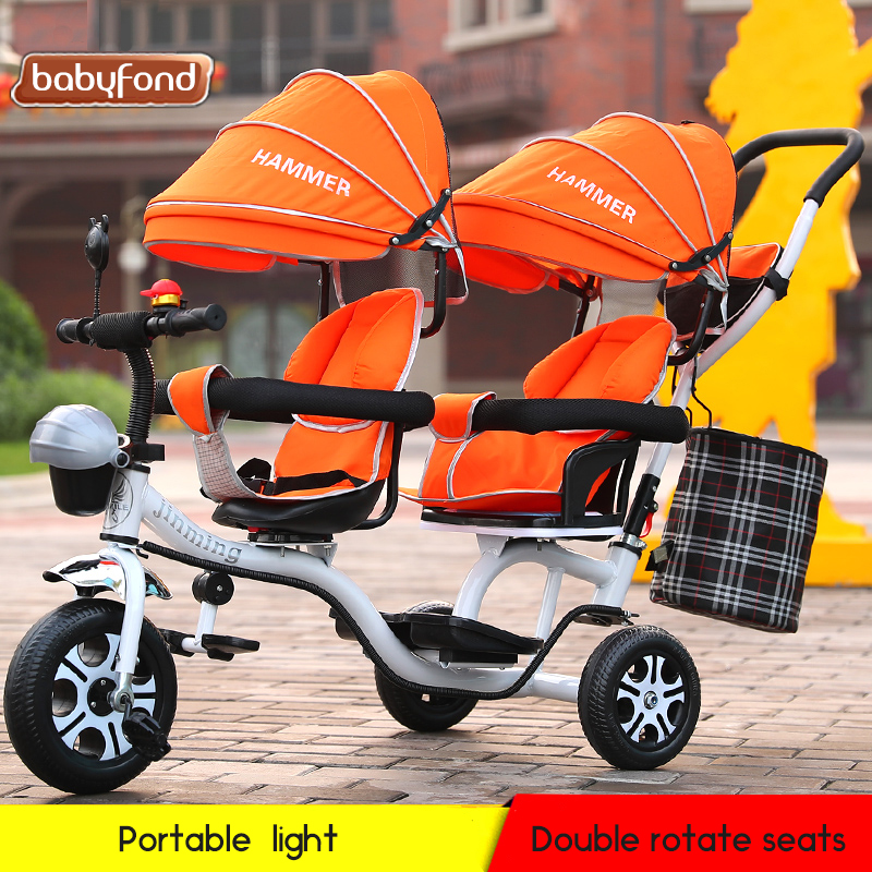 Childrens Tricycle Twin Trolley Double Key Swivel Chair Baby Folding Foot Bike WholesaleChildrens Tricycle Twin Trolley Double Key Swivel Chair Baby Folding Foot Bike Wholesale