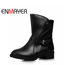ENMAYER Shoes Women New Casual Slip-on Round Toe Woman Boots Fashion PU High Quality Black Beige for Ladies