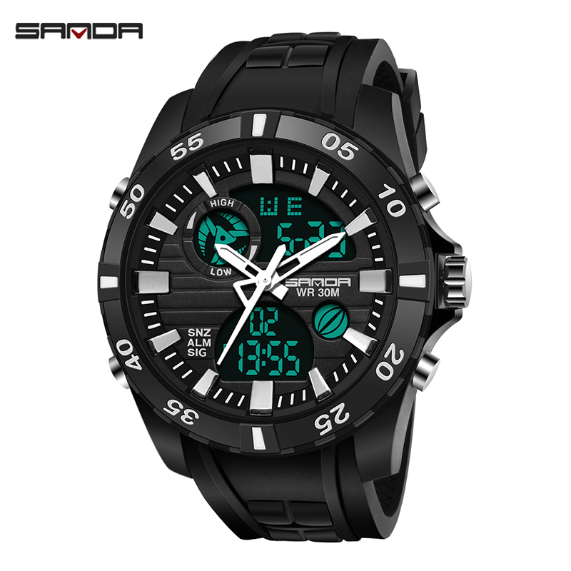 SANDA Luxury Watch Clock Digital Military Waterproof Mens LED Sport Professional Relogio Masculino