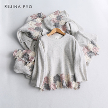 REJINAPYO Women Grey Lace Crochet Casual Knitted Sweater Ladies Elegant O-neck Comfortable Loose Knitted Pullovers Sweater