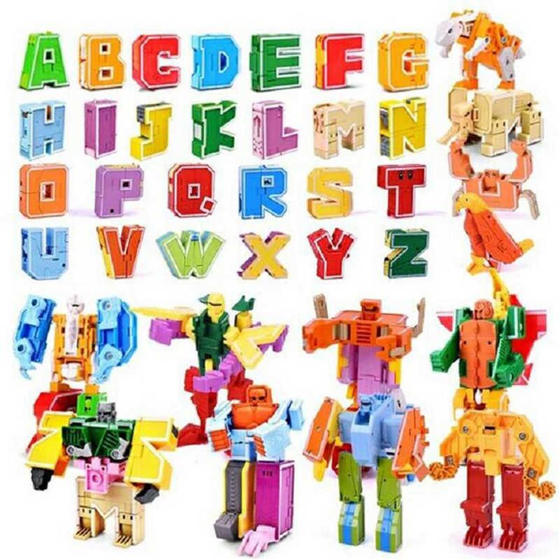 26 inglês Letra Do Alfabeto número Robô Animal Criativo Robô Brinquedos Educativos Animais Figuras de Ação Building Block