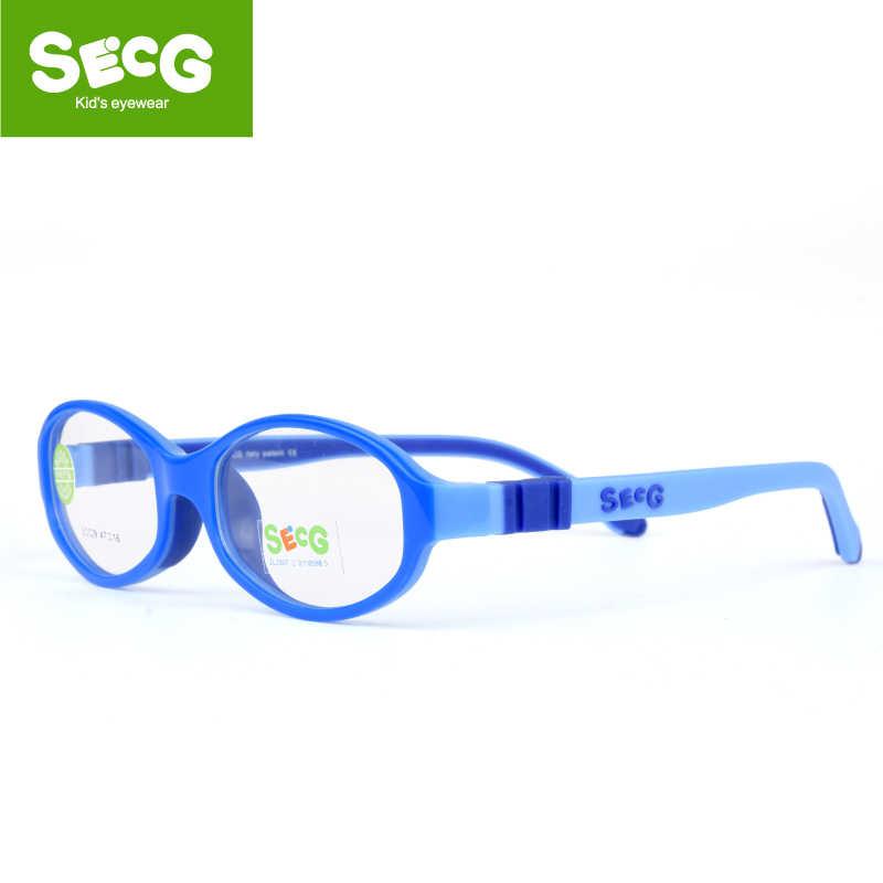 SECG Round Cute Children Glasses Frame Optical Myopia Glasses for Sight Kids Flexible Soft Spectacle Frame No Screw Eyeglasses
