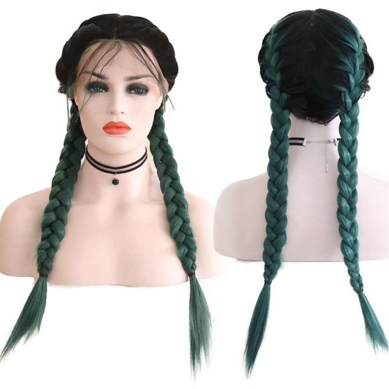 """Alegria & beleza 24 """"longo tranças duplas em linha reta ombre preto 6 cor trançado peruca dianteira do laço suíço marrom claro sintético com cabelo do bebê"""