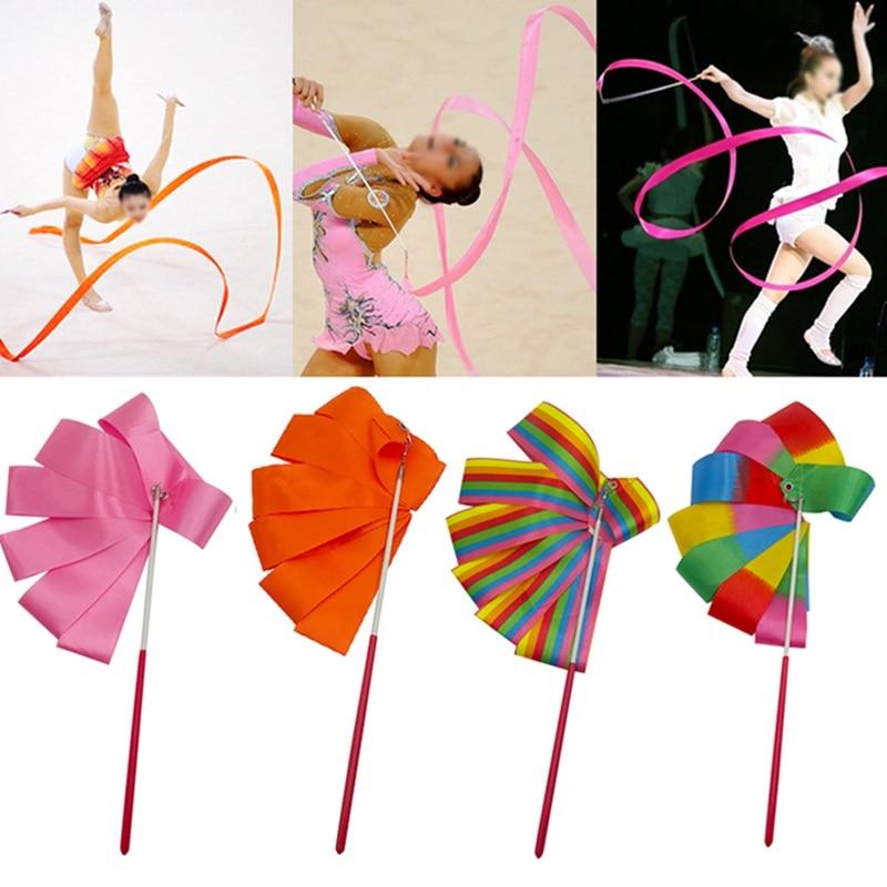 4M Danse Ruban Gymnastique Gym Art Sport Avec Bâton Ballet Streamer Twirling Rod