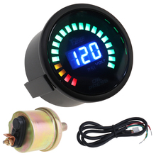 Car Vehicle Oil Pressure Gauges 2 52MM 12V 0~120PSI Colorful LED Digital Press PSI Gauge with Sensor