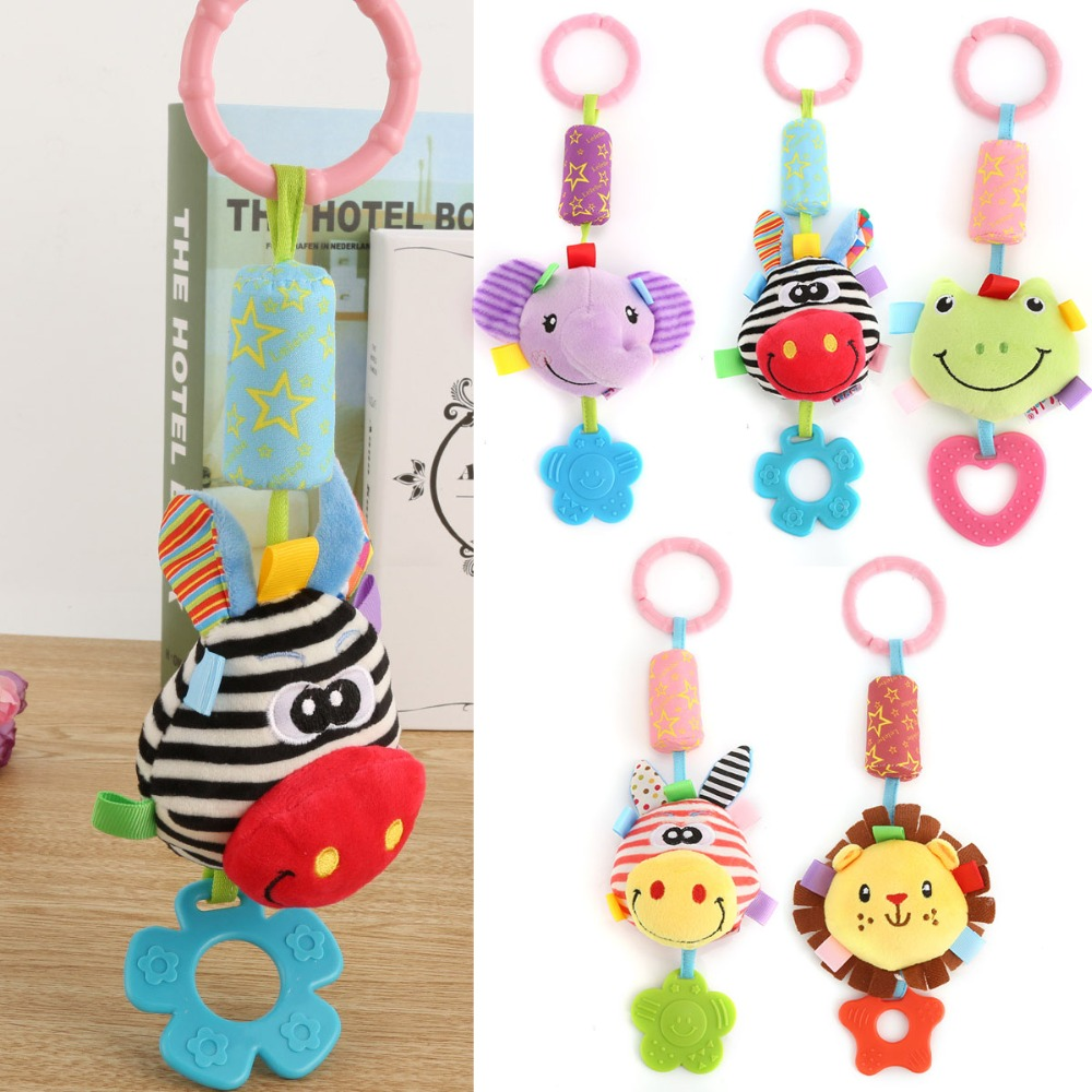 Cute Baby Kids Rattle Toys Tinkle Hand Bell Multifunctional Plush Stroller Hanging Rattles Kawaii Baby Infant Toy Gifts cute animal baby infant rattles toy baby bed stroller hanging cartoon animal rattle handbells toys for infant kids