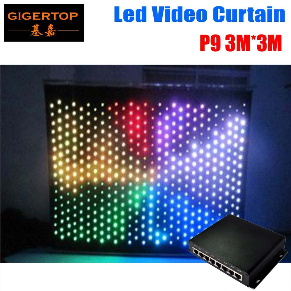 High Quality P9 3M*3M Fireproof Led Vision Curtain PC Mode Wedding Stage Backdrop Light Curtain Make Program Light Curtains