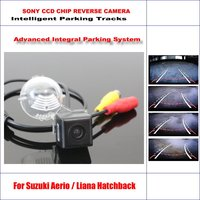 Intelligent Parking Tracks Car Rear Camera For Suzuki Aerio / Liana Hatchback Backup Reverse NTSC RCA AUX HD SONY 580 TV Lines