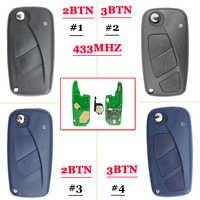 (1 pieza) 2/3 flip botón remoto de 433mhz para FIAt 500 Panda Punto Bravo clave con PCF7946 chip
