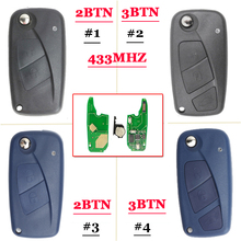 цены (1piece)2Button /3 button flip Remote Key 433mhz for FIAt 500 Panda Punto Bravo key with PCF7946 chip