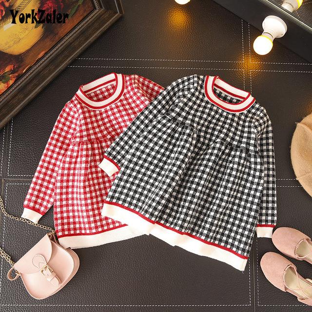 Yorkzaler Spring Autumn Kids Princess Dress For Girls Long Sleeve O-neck Plaid Knitting Girl Party Dress Children Clothes