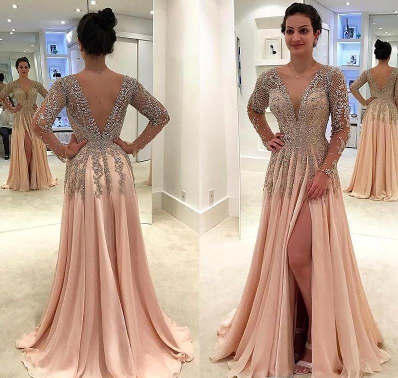 Gorgeous New Long Evening Dress 2020 V Neck Long Sleeves Beading Chiffon A-Line Slit Prom Dresses Robe De Soriee