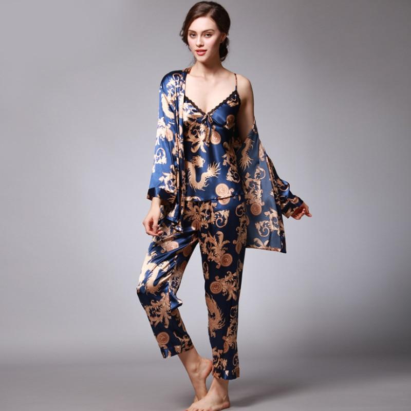 Plus Size Women   Pajamas     Set   Sexy 3PCS Sleepwear Sleep   Set   Female   Pajamas   Suit Charming Nightwear Dragon Print Home Clothes