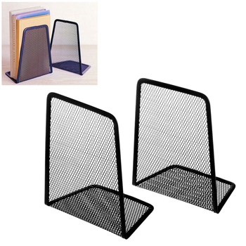 1 Pair Metal Book Organizer Mesh Book Holder Office Home Desk Bookends Office Accessories