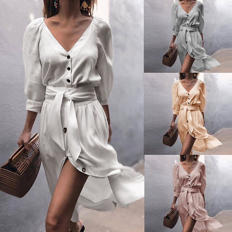 S-XL AUTUMN Elegant OL Dresses half Sleeve Sexy Bow tied Dress Women 2018 Deep V Neck Buttons White pink Midi Vintage Dresses