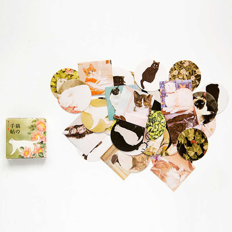 Flores Em Caixa Adesivos Gato Bonito Planejador Kawaii Scrapbooking Papelaria Escolar Material Escolar Diário Japonês Adesivos para a Menina
