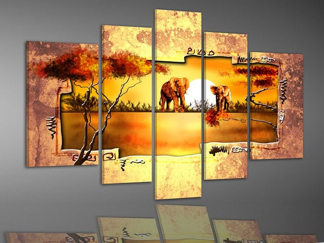 hand painted multi panel canvas wall art Warm elephant forest home ...